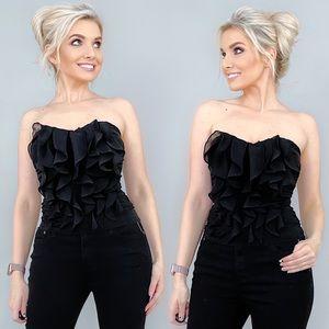 Black Strapless Sweetheart Ruffle Top